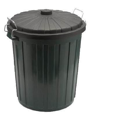 Garbage Bin Plastic w/lid - Green 46 Litre