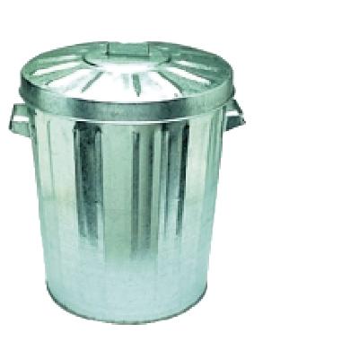 Garbage Bin - Galvanised w/lid 55 Litre