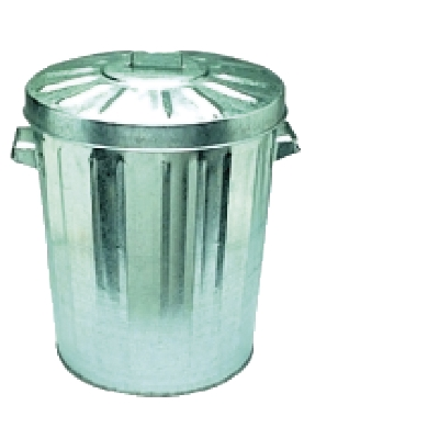 Garbage Bin - Galvanised w/lid 76 Litre